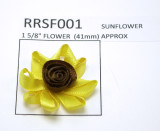 "Ribbon Rose Sunflower 1 5/8"" (41mm) 10 pieces"