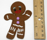 """Gingerbread Man Mongo  Iron On Patch Applique  3 5/8"""" x 2 1/2"""""""