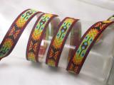 """Aztec Jacquard Ribbon 3/4 """" (20mm) Bright Pattern priced Per Yard"""