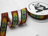 """Aztec Jacquard Ribbon 1 1/2"""" (38mm) Bright Pattern priced Per Yard"""