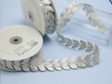 """Embroidered Border Laurel Leaves 38mm 1 1/2"""" Silver 9 meter roll Iron on"""
