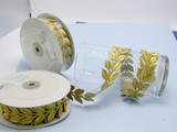 """Embroidered Border Laurel Leaves 38mm 1 1/2"""" Gold 9 meter roll Iron on"""