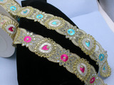 """Fancy Beaded & Mirrored Saree Sari Floral Border Embroidered  2 1/2"""" (63mm)   Per mtr"""
