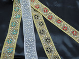 "Beaded Sari Saree Border Floral   2"" (50mm) Per Meter 10 Color options"