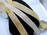 "Beaded Sari Saree Border Super Sparkles   1 3/4"" (45mm) Per Meter Gold Silver or Copper"