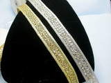 """Fancy Beaded Border Trim Embroidered  1 1/8"""" (28.5mm)   Per mtr in Gold or Silver"""