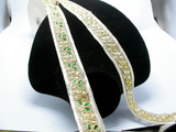 """Fancy Beaded Sari Saree Border Trim Embroidered  1 3/8"""" (35mm)   Per mtr Green or Gold"""