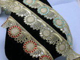 """Mirrored Beaded Costume Border Trim Embroidered  2 3/8"""" (60mm)   Per mtr"""