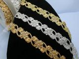 "Fancy Beaded Sari Saree Border Trim Embroidered  1 3/8"" (35mm)   Per mtr"