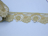 """Beaded Sari Saree Border Gold & Silver Embroidered with Flower detail  2 5/8"""" (67mm) Per Meter"""