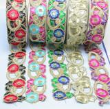 "Beaded Saree Sari Floral Primrose Border Embroidered Kundan Lace 2 1/4"" (57mm)   Per mtr"