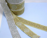 """Sparkly Beaded Costume Border Trim Embroidered  2 3/8"""" (60mm)   Per mtr"""