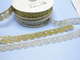 """Fancy Beaded Border Trim Embroidered  1 1/8"""" (28.5mm)   Per mtr"""