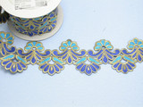"Embroidered Saree Border Blue Grand Bloom 92mm 3 5/8 wide"" Priced Per Yard Iron On"