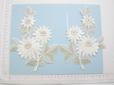 Pair Off White Large Beaded Bridal Applique - L&R Floral Embroidered Iron On Patch