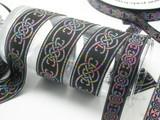 """Celtic Jacquard Ribbon Long Link Design Multi Metallic  1 1/2"""""""