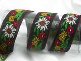 "Vintage Cotton Jacquard Ribbon 1 1/2"" (38mm) Edelweiss Priced Per Yard"