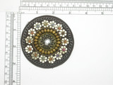 "Applique 3"" Beaded Chain Circle Patch Heat Seal Backing  Excellent Costume piece"