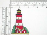 "Lighthouse Embroidered Iron on Patch Applique Fully Embroidered   Measures 2 7/8"" high x 1 7/8"" wide approximately"