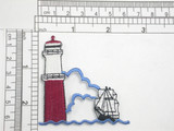 Lighthouse & Ship Embroidered Iron on Patch Applique