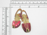 """Footwear Sandal Slingback Red Sequins Iron On Patch Applique  Fully Embroidered with Sequin Detailing  Measures 2 5/8"""" x 2"""" Wide Approximately"""