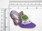 """Footwear Slipper Purple Iron On Patch Applique  Fully Embroidered with Lace Detailing  Measures 1 3/4"""" x 3"""" Wide Approximately"""