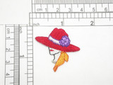 """Red Hat Lady with Floral Hat  Embroidered iron on Applique  Embroidered Fully  Measures 1 1/2"""" high x 1 1/2"""" wide approximately"""