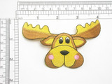 """Moose Head Embroidered Iron On Applique  Fully Embroidered   Measures 4"""" across x 2 1/2"""" high approximately"""