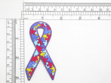 "Autism Awareness Ribbon 3"" Iron On Embroidered Applique  Fully Embroidered  Measures 3"" high x 1 5/8"" wide approximately (71mm x 41mm)"