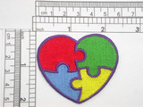 "Autism Awareness Heart 2"" Iron On Embroidered Applique  Fully Embroidered  Measures 2"" high x 2 3/8"" wide approximately (50mm x 60mm)"