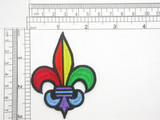 "Fleur De Lys Pride rainbow color Iron On Patch Applique - 3"" high (75mm) x 2 3/16"" wide (55mm)"