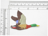 """Mallard Duck Flying Iron On Embroidered Applique 3 1/8"""" x 2"""" (80mm x 51mm) Fully Embroidered High Detail Applique"""