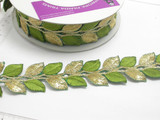 """Embroidered Border Laurel Leaves 38mm 1 1/2"""" Gold & Green 9 meter roll Iron on"""
