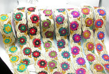 "Iron On Embroidered Duo Flower Border 57mm 2 1/4 wide"" Priced Per Meter"