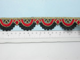 "Embroidered Saree Border Red & Black Scallop  35mm 1 3/8""  Iron On"