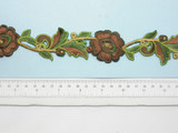 "Embroidered Flower Border Brown  35mm 1 3/8"" wide Priced Per Yard  Iron On"