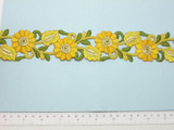 "Embroidered Daisy Border Yellow  48mm 1 7/8"" wide Priced Per Yard  Iron On"