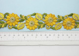 "Embroidered Daisy Border Yellow  38mm 1 1/2"" wide Priced Per Yard  Iron On"