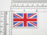 """Union Jack UK Flag Embroidered Iron On Patch Applique Punk Rock  2"""" x 1 1/4""""  (51mm x 32mm) approx"""