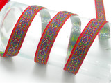 """Jacquard Ribbon 3/4"""" Euro Floral Design Red Per Yard  Red Blue Green & Metallic Gold Accents"""