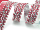 "Jacquard Ribbon 1 5/16"" Red & Black Diamonds priced Per Yard"