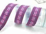 """Jacquard Ribbon 1 3/8"""" Bright Pink White & Met Turquoise Swirl Priced per yard"""