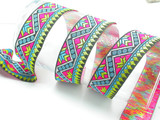 """Jacquard Ribbon 1 3/8"""" Very Bright Aztec Pattern Priced per yard  If you order over 7 yards there will be a splice - join  Very Bright colors- one of the brightest Jacquards we have stocked - looks amazing in the sun!"""
