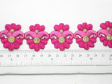 """Pink Embroidered Iron On  Border 35mm 1 3/8"""" wide Priced Per Yard Iron On USA STOCK"""