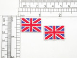 """2 x UK Flag Union Jack Embroidered Iron On Applique 1"""" x 3/4"""" Fully Embroidered  Measures 1"""" across x 3/4"""" high"""