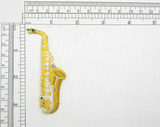 "Saxophone Embroidered Iron On Patch Applique Fully Embroidered  Measures 3 3/8"" high x 1 3/8"" wide"