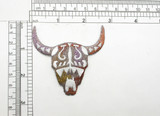 """Steer Skull South Western Style  Colorful Embroidered Applique  Fully Embroidered  Measures 2 5/8"""" high x 2 3/4"""" wide approximately"""
