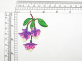 """Fuchsia Flowers Embroidered iron on patch  Fully Embroidered  Measures 2-1/8"""" x 2-3/4""""   54mm x 69mm"""
