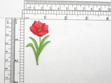 """Poppy Single Bloom  Embroidered iron on patch  Fully Embroidered  Measures 1-1/8"""" x 2""""   28.5mm x 50.8mm"""