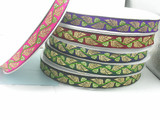 "Jacquard Ribbon 1"" Metallic Leaves  Priced Per 3 yards & Up  Woven Jacquard Ribbon with Metallic  6 colorways"